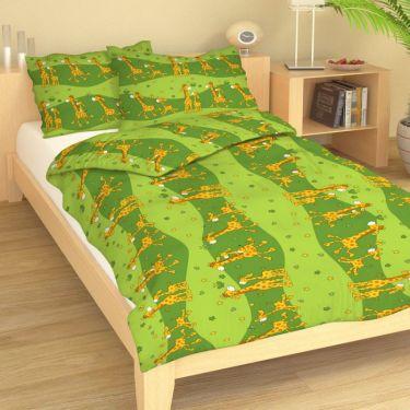 Bavlněné dětské povlečení Žirafy zelené