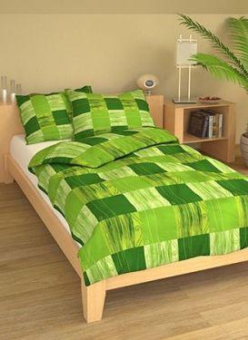 Bavlněné povlečení Kostky zelené