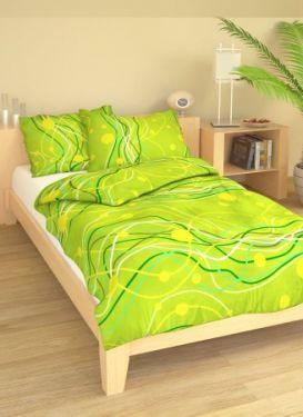 Bavlněné povlečení zelené vlnky
