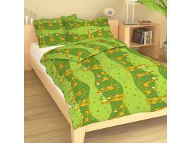 Krepové dětské povlečení  Žirafy zelené