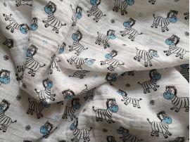 Látková plena Zebra modrá